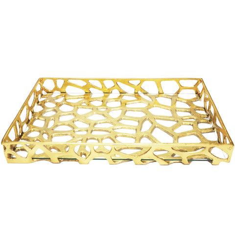 Worlds Away Iron Tray with Glass Bottom – Gold Leaf