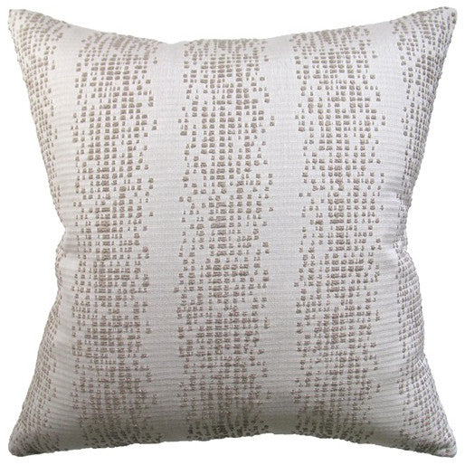 Pixellated Stripes Indoor/Outdoor Pillow – Beige