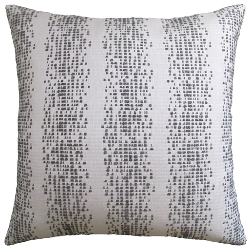 Pixellated Stripes Indoor/Outdoor Pillow – Smoke Grey