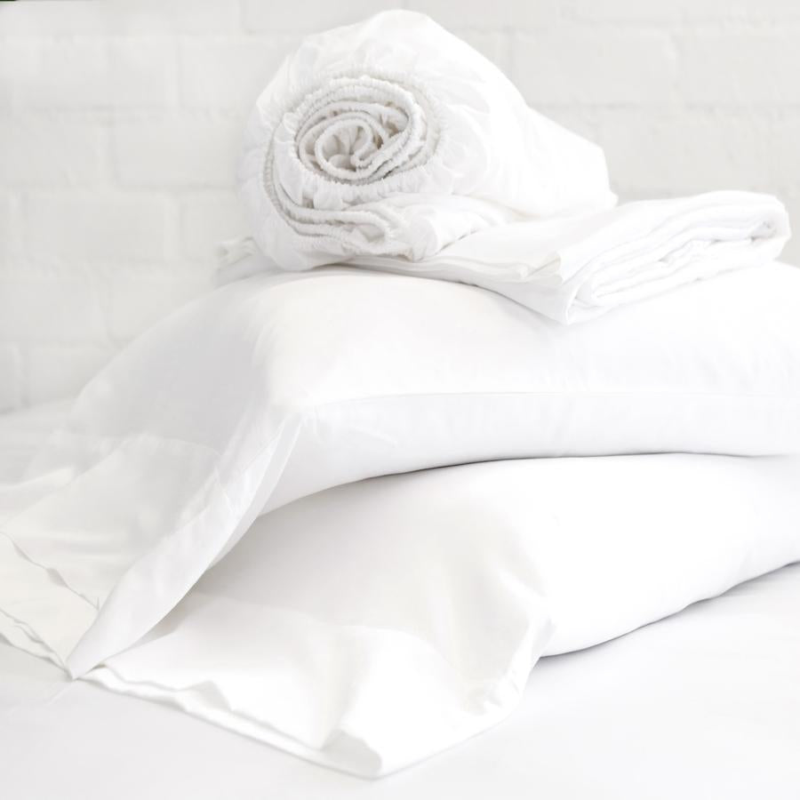 POM POM AT HOME COTTON SATEEN SHEET SET - WHITE