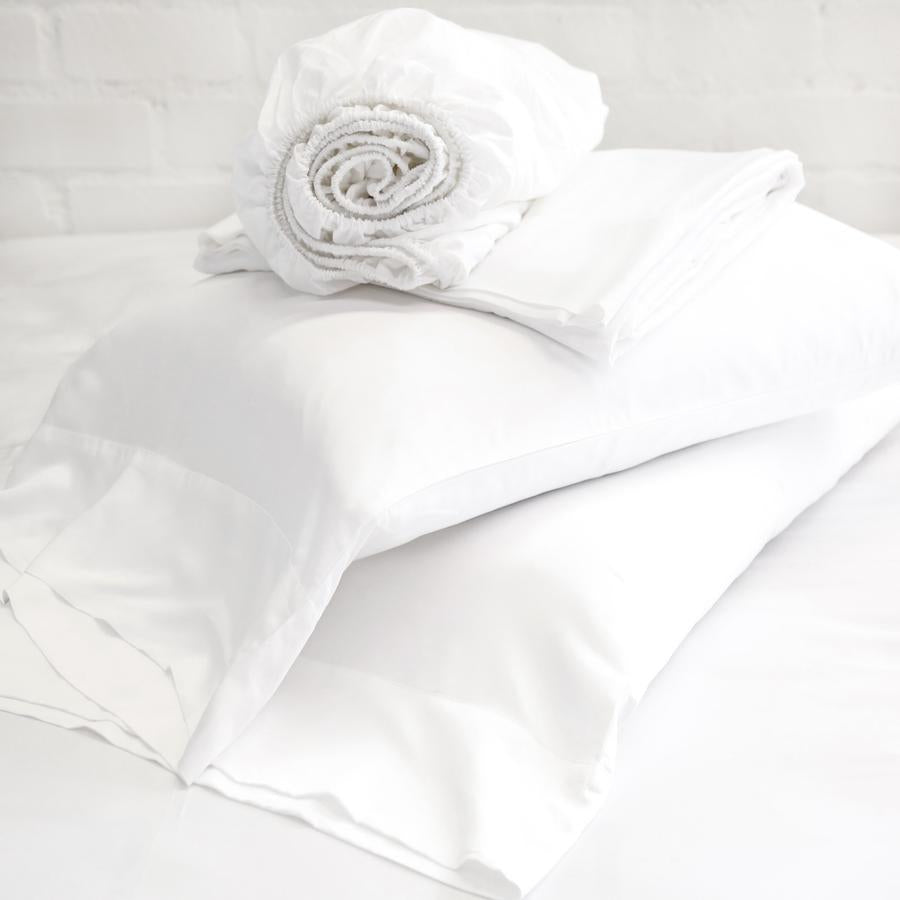POM POM AT HOME BAMBOO SHEET SET - WHITE