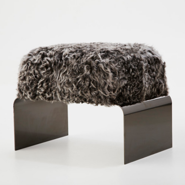 Arch Tibetan Lamb Bench - Black & White