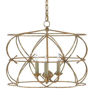 Currey and Company Bowed Round Chandelier – Distressed Gold Leaf