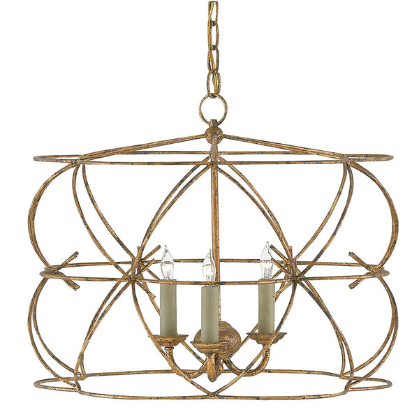 Bowed Round Chandelier – Distressed Gold Leaf