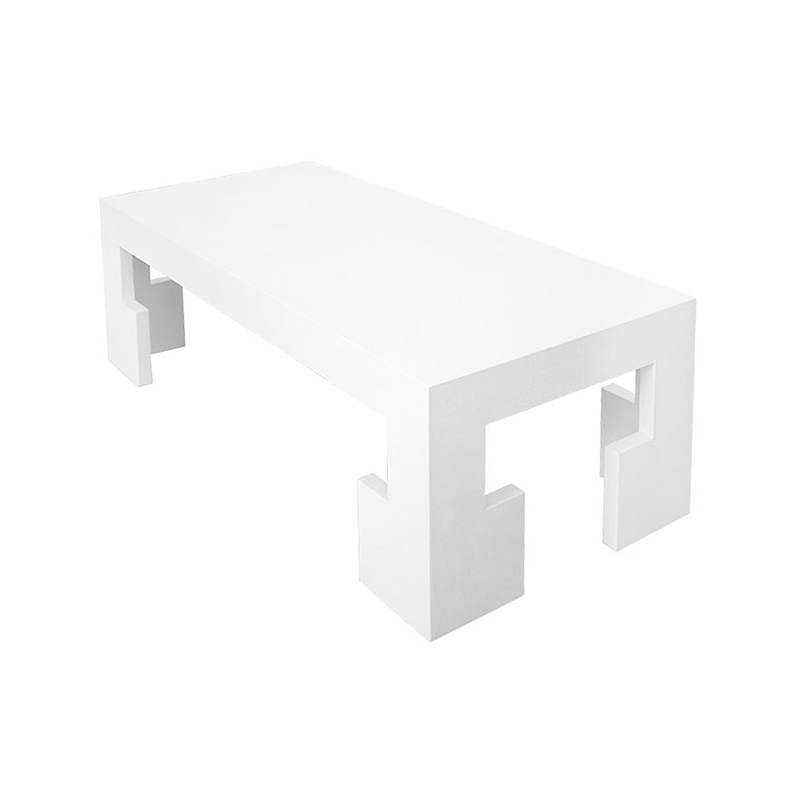 Worlds Away Radford Rectangular Coffee Table – White Lacquer Linen
