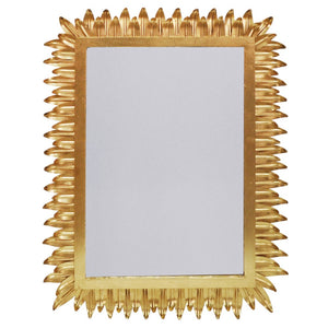 Worlds Away Rectangular Mirror with Pointed Leaves Frame – Gold Leaf