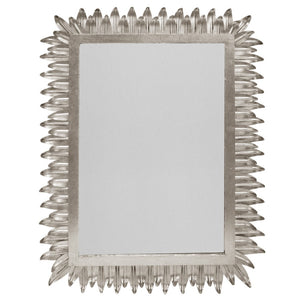 Worlds Away Rectangular Mirror with Pointed Leaves Frame – Silver Leaf