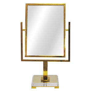Worlds Away Caitlin Tabletop Mirror with Acrylic Base – Brass