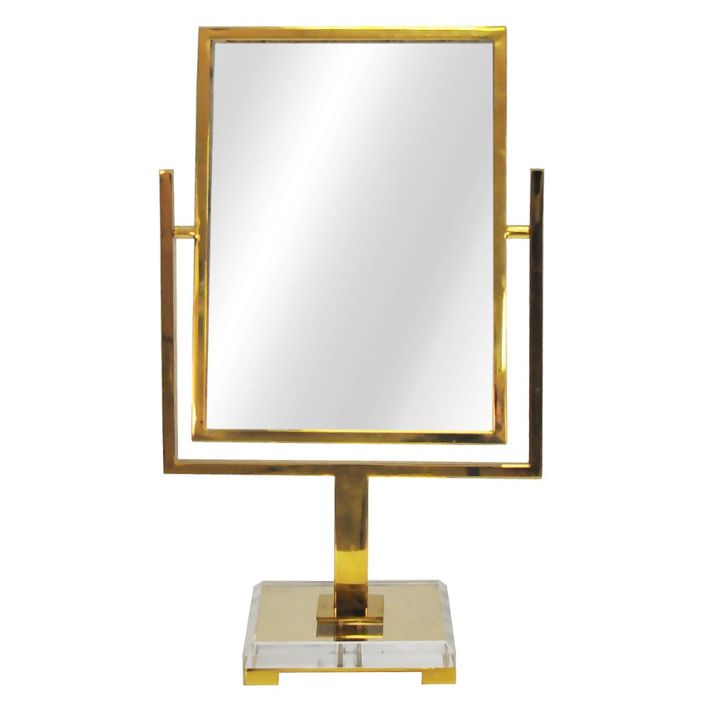 Worlds Away Glam Tabletop Mirror with Acrylic Base – Brass