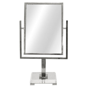 Worlds Away Glam Tabletop Mirror with Acrylic Base – Polished Nickel