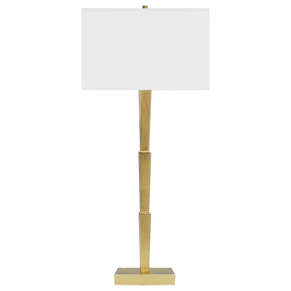 Worlds Away 3-Tier Table Lamp with Square Linen Shade – Gold Leaf