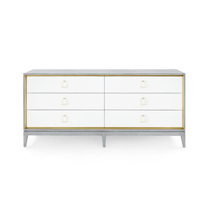 Bungalow 5 Cameron Extra Large 6-Drawer, Gray Lacquered