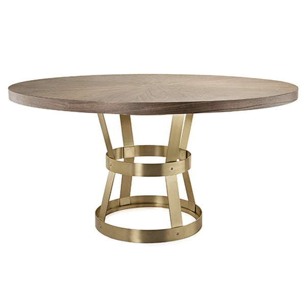 Worlds Away Antique Brass Industrial Metal Dining Table – Radial Walnut Top