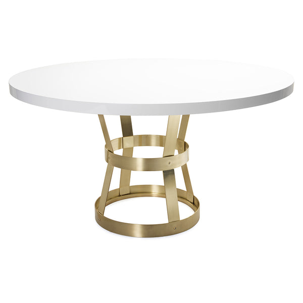 Worlds Away Antique Brass Industrial Metal Dining Table – White Lacquer Top