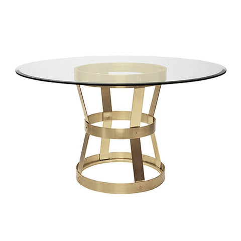 Worlds Away Antique Brass Industrial Metal Dining Table – Beveled Glass Top