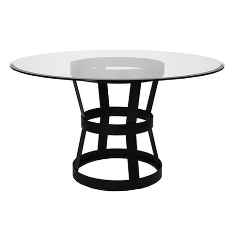 Worlds Away Black Metal Industrial Dining Table – Beveled Glass Top