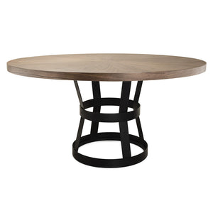 Worlds Away Cannon Black Metal Industrial Dining Table – Radial Walnut Top