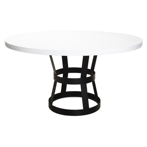 Worlds Away Cannon Black Metal Industrial Dining Table – White Lacquer Top