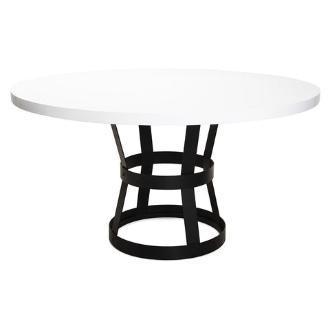 Worlds Away Black Metal Industrial Dining Table – White Lacquer Top