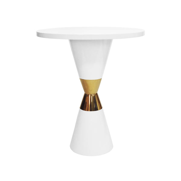 Worlds Away Pub Table - White Lacquer with Brass Detail