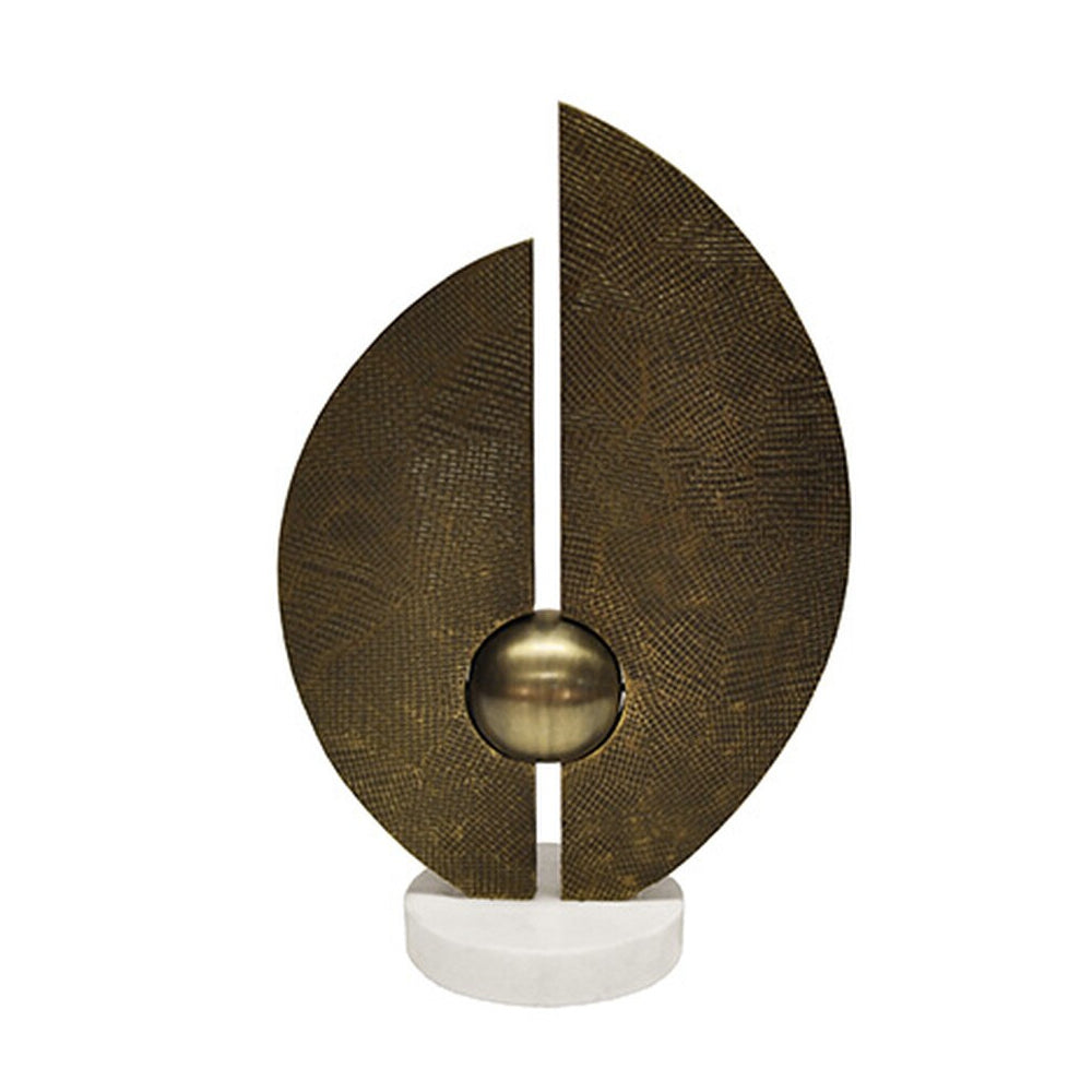Worlds Away Abstract Geometry Sculpture on Marble Base – Antique Brass