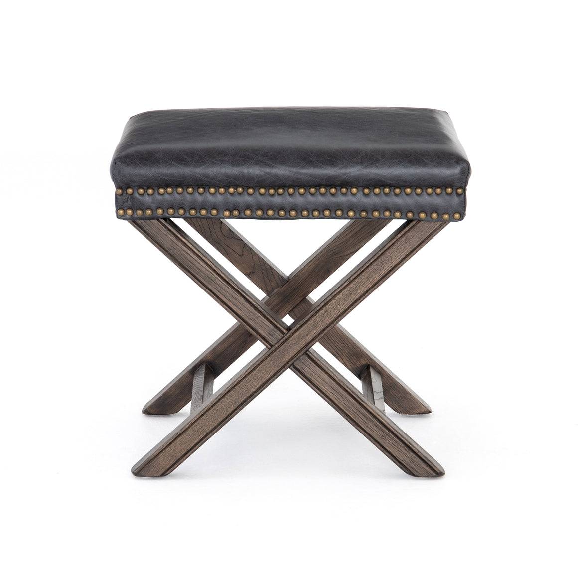 Elyse X Frame Ottoman - Smoke Brown Leather