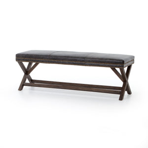 Elyse X Frame Bench - Smoke Brown Leather