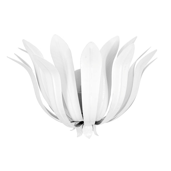 Worlds Away Contemporary Metal Leaves Sconce – White
