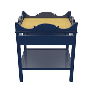 Charleston 1-Drawer Lacquer Side Table – Navy (Additional Colors Available)