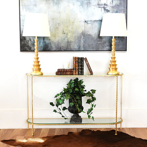 Worlds Away Chauncey Iron Console with Curved Edges - Gold Leaf