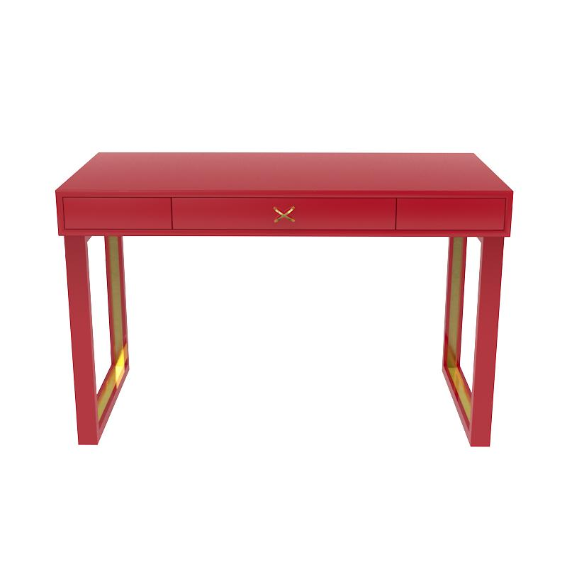 Chelsea Lacquer Desk with Metal Accents – Bolero (Additional Colors Available)