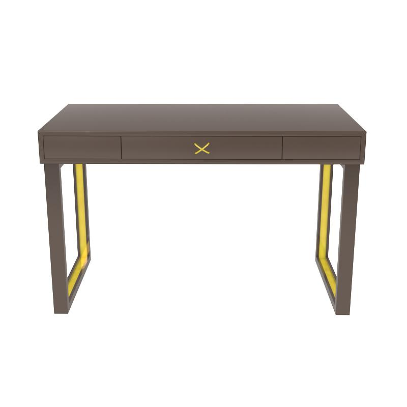 Chelsea Lacquer Desk with Metal Accents – Brown (Additional Colors Available)