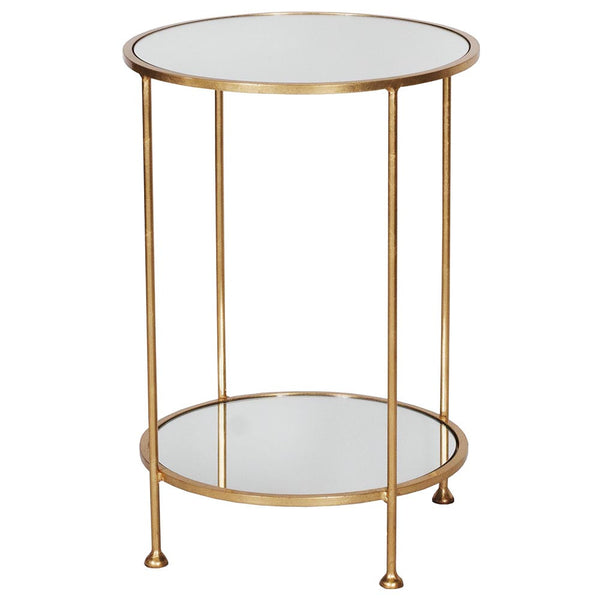 Worlds Away Round Table with Mirror Tops - Gold Leaf