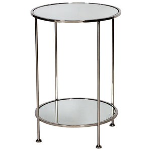 Worlds Away Chico Round Table with Mirror Tops - Nickel Plated