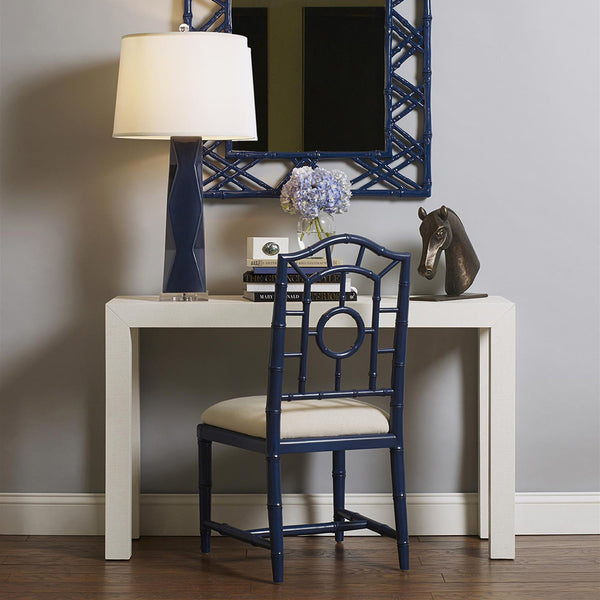 Bungalow 5 Chinoiserie Mahogany Side Chair — Navy