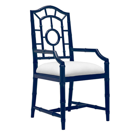 Bungalow 5 Chinoiserie Mahogany Arm Chair — Navy Blue