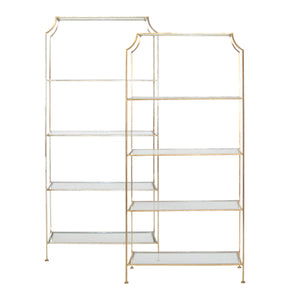Worlds Away Contemporary Etagere with Glass Shelves – Gold Leaf