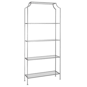 Worlds Away Contemporary Etagere with Glass Shelves – Silver Leaf