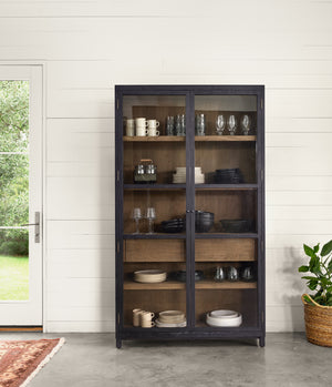 Millie Oak & Glass Cabinet - Drifted Black