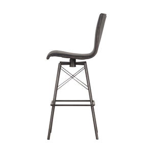 Diaw Swivel Bar Stool - Distressed Black
