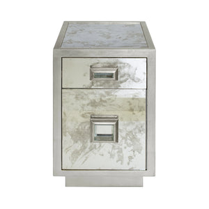 Worlds Away Cisco Storage Table - Silver Leaf
