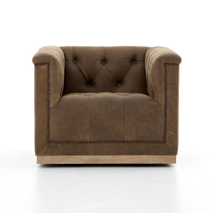Maxx Distressed Leather Swivel Chair - Umber Brown