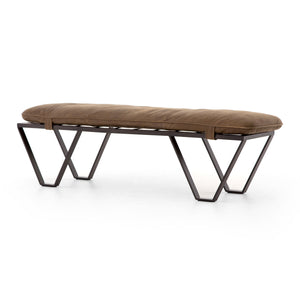 Darrow Bench - Distressed Tan Leather