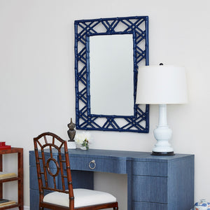 Bungalow 5 Lattice Mirror – Navy Lacquer