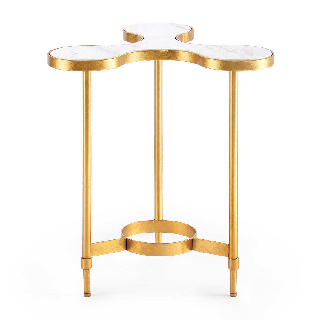 Bungalow 5 Gold Leafed Iron & Marble Clover Side Table – White Marble