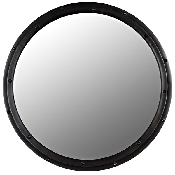 Noir Round Mirror - Black Metal