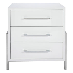 Worlds Away Cohen Lacquer Nightstand with Nickel Hardware – White