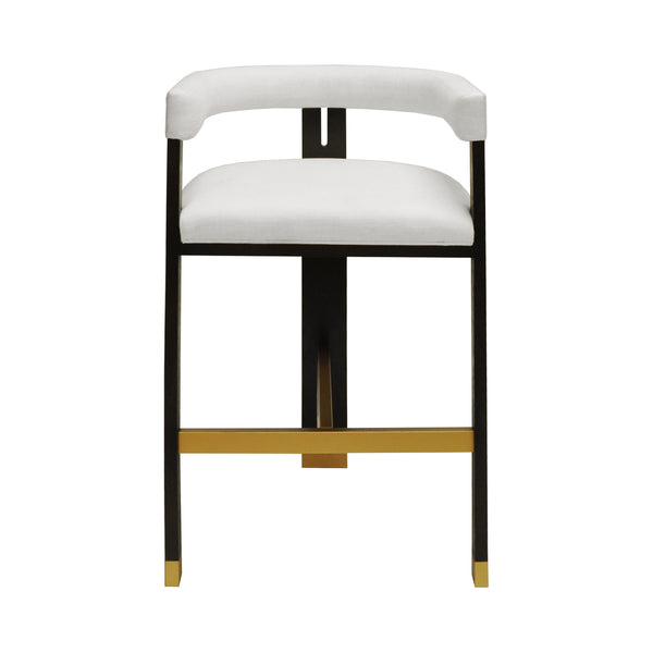 Worlds Modern Wooden Accent Bar Stool - White Linen Cushion