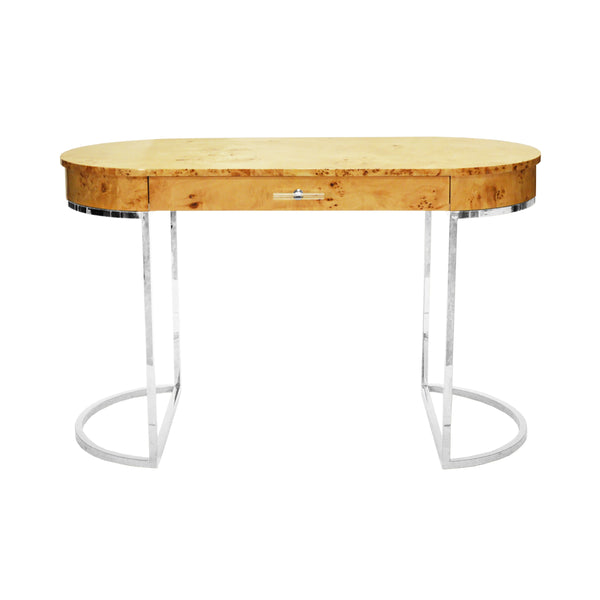 Worlds Away Oval Desk with Nickel Base - Burl Wood