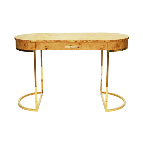 Worlds Away Oval Desk with Brass Base - Burl Wood